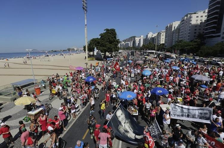 People gather to protest against the impeachment of Brazil