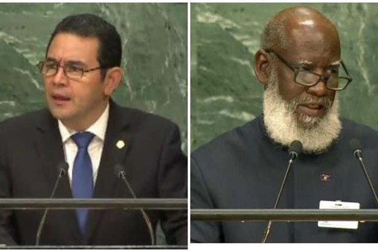 El presidente Jimmy Morales y el canciller de Belice, Wilfred Erlington hablaron ante la ONU sobre la tensión en zona de adyacencia. (Foto Prensa Libre: Hemeroteca PL)