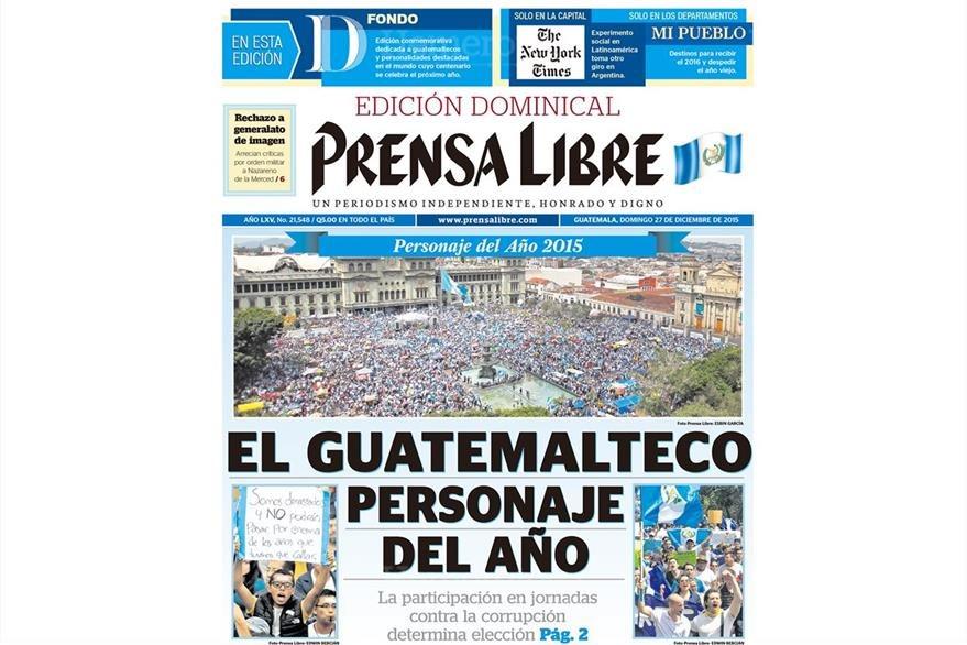 Los guatemaltecos son electos como el personaje del año 2015 por su participación en jornadas contra la corrupción. (Foto: Hemeroteca PL)