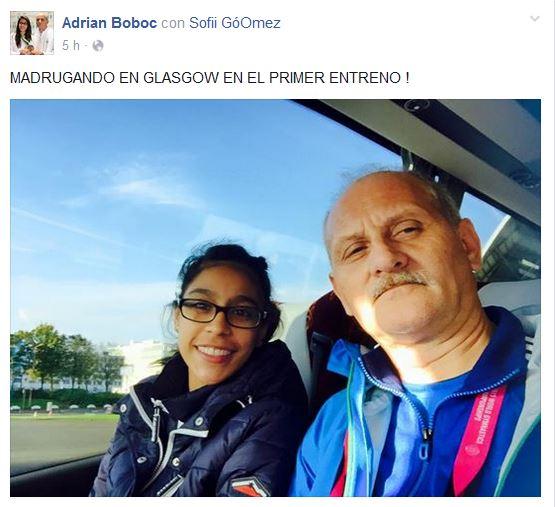 Sofi y su entrenador Adrian Boboc preparados para el primer entreno. (Foto Prensa Libre: Adrian Boboc)