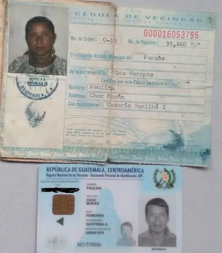 DPI de  Efraín Choc tiene los mismos datos que  la cédula de su esposa Paulina Choc. (Foto Prensa Libre: Eduardo Sam).