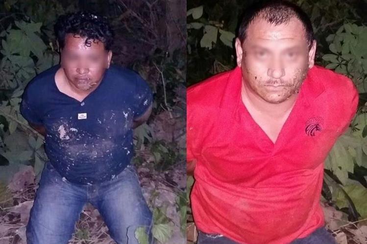 Los dos presuntos delincuentes detenidos en Nueva Concepción, Escuintla. (Foto Prensa Libre: PNC).