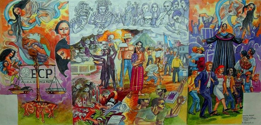 """Mural """"Ideal, sacrificio y justicia"""", pintado por estudiantes de la Escuela Superior de Arte (ESArte), de la Universidad de San Carlos de Guatemala (Usac). (Foto Prensa Libre: Hemeroteca PL)"""
