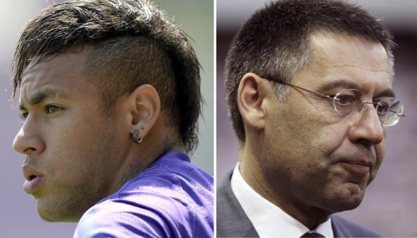 Neymar y Josep María Bartomeu enfrentan una nueva demanda por el caso del delantero brasileño. (Foro Prensa Libre: AFP)