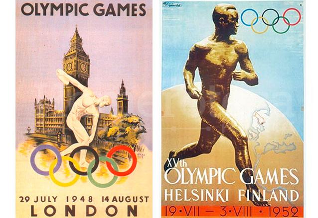 Afiches de los Juegos Olímpicos de Londres 1948 y Helsinki 1952. (Foto: Hemeroteca PL)