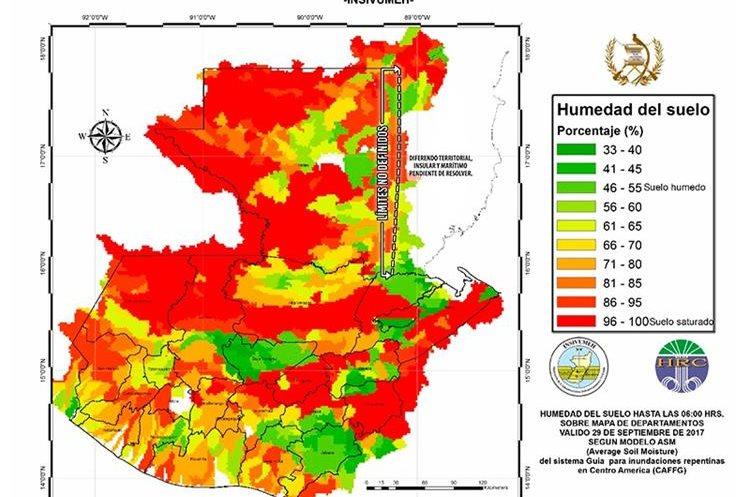 Mapa de humedad y saturación del suelo compartido por el Insivumeh. (Foto Prensa Libre: Insivumeh)