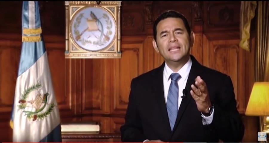 El presidente Jimmy Morales hace una evaluación de sus primeros 100 días al frente del Gobierno. (Foto Prensa Libre: Óscar Rivas)