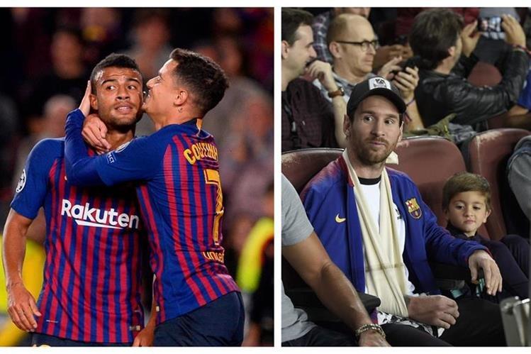 Los jugadores del Barcelona festejaban en el campo y Leo Messi observaba el juego desde el palco. (Foto Prensa Libre: AFP)