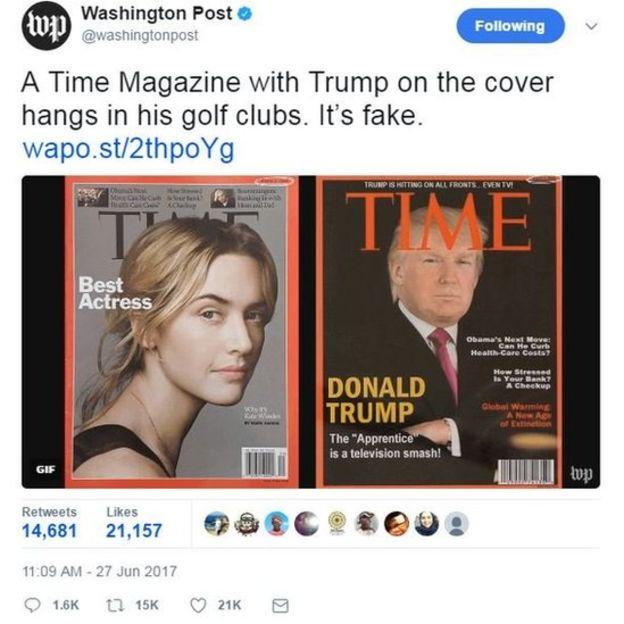La portada de la revista Time con Trump colgada en al menos cuatro clubes de golf resultó ser falsa. TWITTER/WASHINGTONPOST