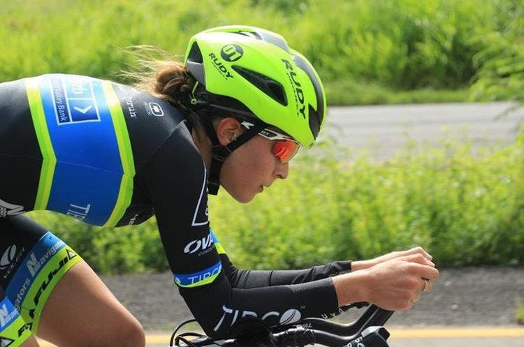Nicolle Bruderer, ciclista guatemalteca, que compitió en La Course. (Foto Prensa Libre: Cortesía Nicolle Bruderer)
