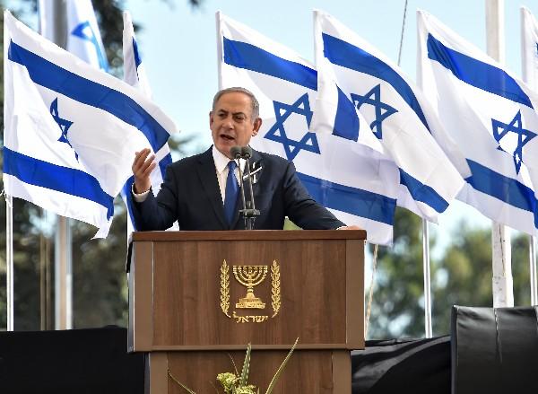 El primer ministro israelí, Benjamin Netanyahu, habla durante el funeral de Shimon Peres.(AFP).