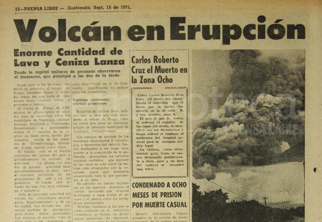 Nota periodística del 15/09/1971 sobre la erupción del Volcán de Fuego.