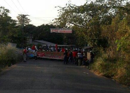 Protesta de pobladores de Coatepeque. (Foto Prensa Libre: Alexánder Coyoy).