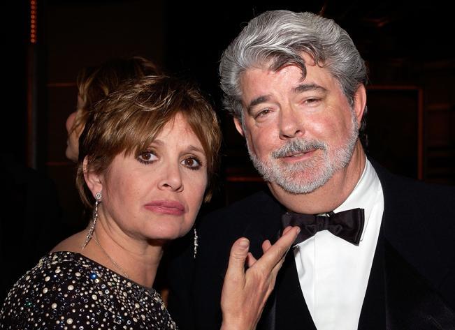 Carrie Fisher junto al director de cine George Lucas, creador de Star Wars. (Foto Prensa Libre: eonline.com)