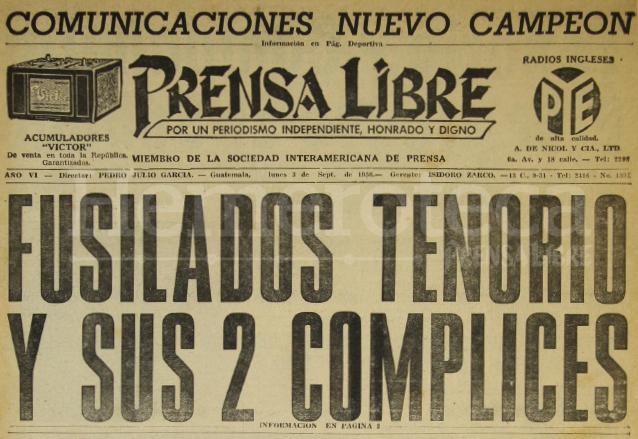 Titular de Prensa Libre del 3 de septiembre de 1956 informando sobre la ejecución de Miguel Tenorio Prado y compañeros. (Foto:  Hemeroteca PL)
