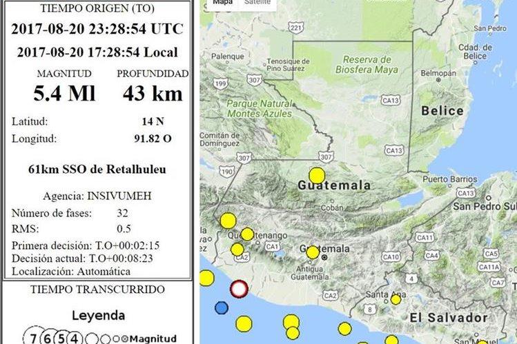 El sismo fue sensible en varias regiones del país. (Foto Prensa Libre:)