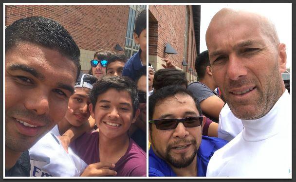 José Carlos, Gabril y Marvin Otzoy se tomaron selfies con Zinedine Zidane. (Foto Prensa Libre: Cortesía Familia Otzoy Ruiz)
