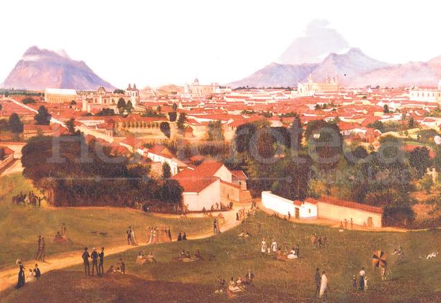 La ciudad de Guatemala vista desde el Cerrito del Carmen. Pintado por Augusto de Succa en 1870. (Foto: Hemeroteca PL)