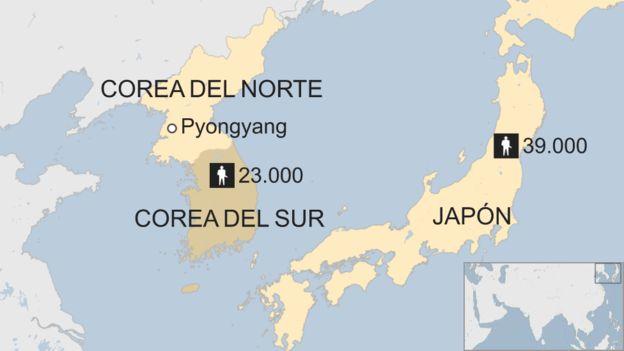 Presencia militar de Estados Unidos alrededor de Corea del Norte.