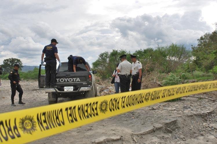 Lugar donde fue localizado el cadáver de López Nájera, en Huité, Zacapa. (Foto Prensa Libre: Víctor Gómez)
