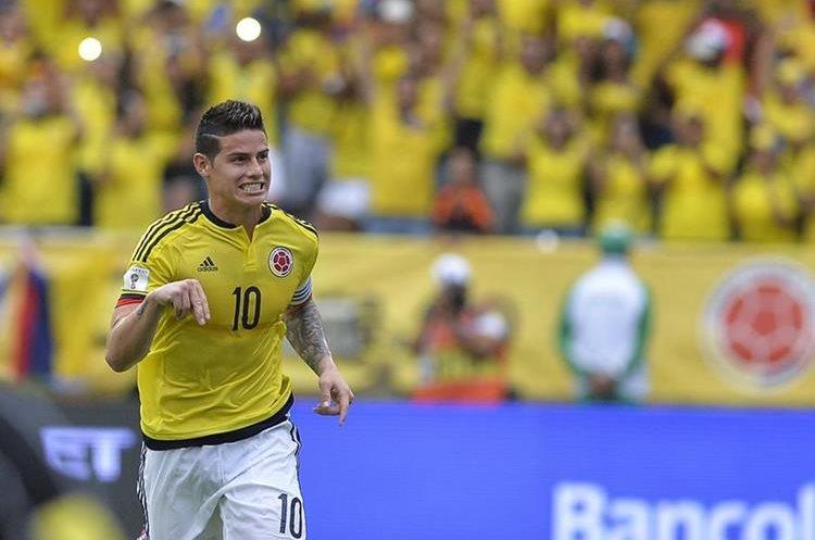 James celebra después de anotar el gol del triunfo para Colombia.