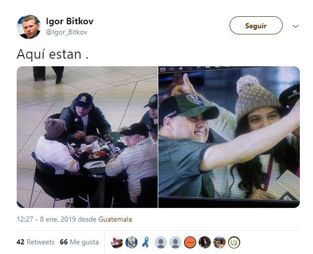El ciudadano ruso Igor Bitkov indicó en Twitter que trabajadores de la Cicig se encontraban en el Aeropuerto Internacional La Aurora.