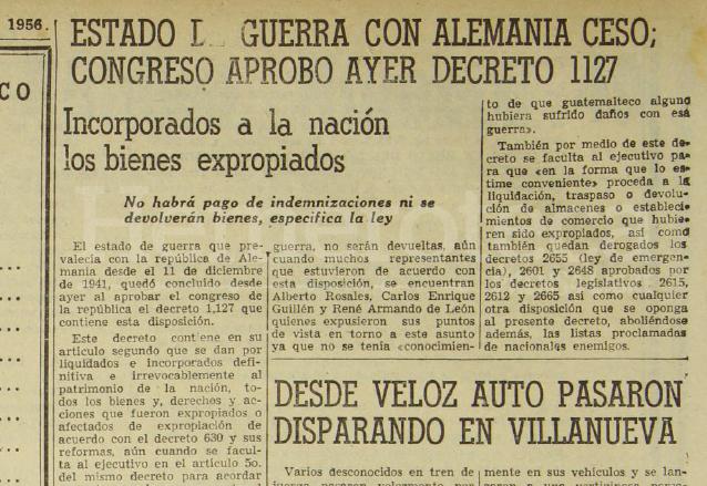 Nota de Prensa Libre del 22 de noviembre de 1956 el cual recogía el decreto con el cual se terminaba la declaratoria de guerra con Alemania. (Foto: Hemeroteca PL)