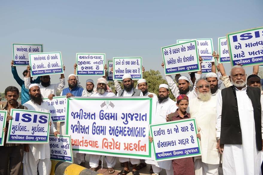Musulmanes de la India protestan contra el terrorismo del Estado Islámico. Foto Prensa Libre (AFP)