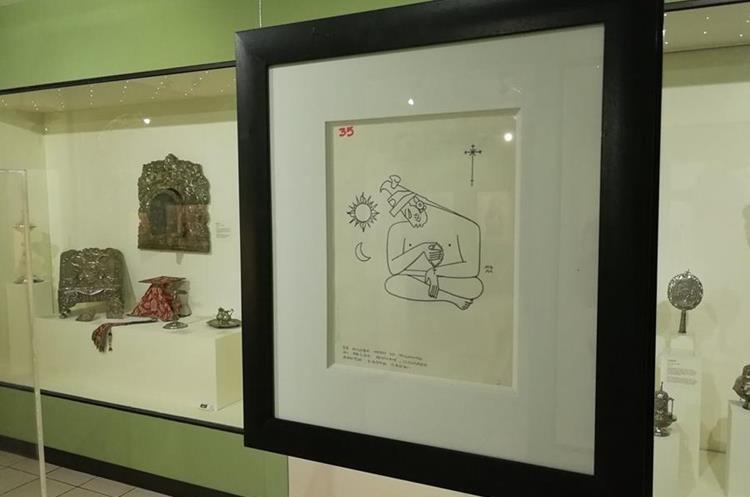 32 dibujos de una serie de 37 hecha por Guillermo Grajeda Mena (1918-1995) fue distribuida en el recinto. (Foto Prensa Libre: José Luis Escobar).