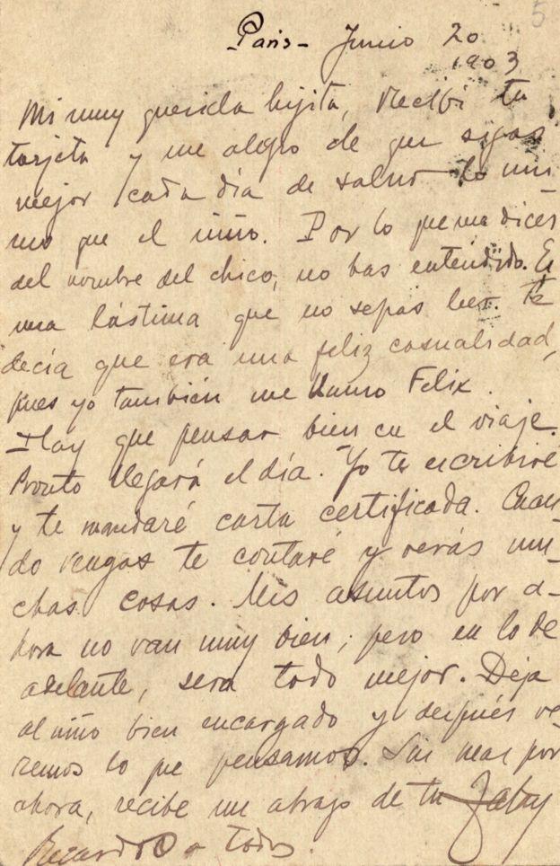 Darío le enseñó a leer a Francisca. Y ella conservó celosamente toda su correspondencia. BIBLIOTECA UNIVERSIDAD COMPLUTENSE