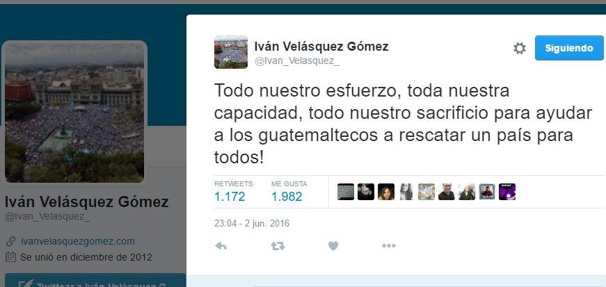 """El comisionado de Cicig, Iván Velásquez, envió este mensaje a los guatemaltecos, el jueves 2 de junio, luego de destapar caso """"Cooptación del Estado"""". (Foto Prensa Libre: Twitter)"""