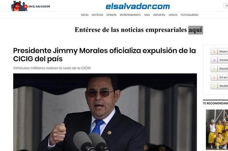 La noticia ocupó espacios en los diarios digitales de El Salvador.