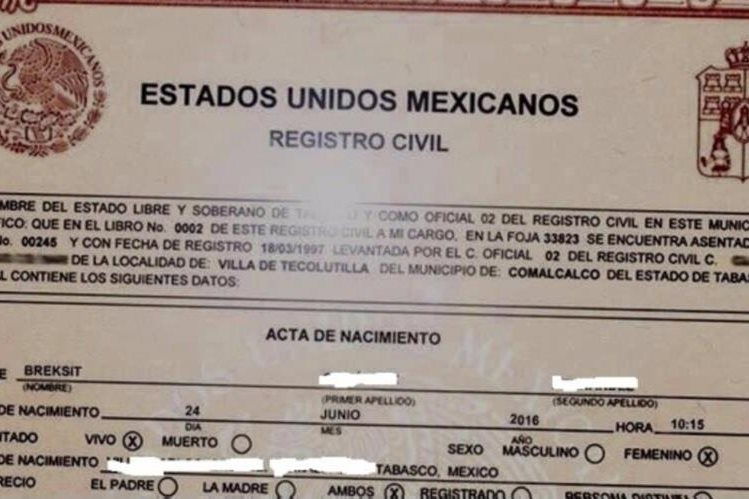 Desmienten que niña mexicana se llame Breksit