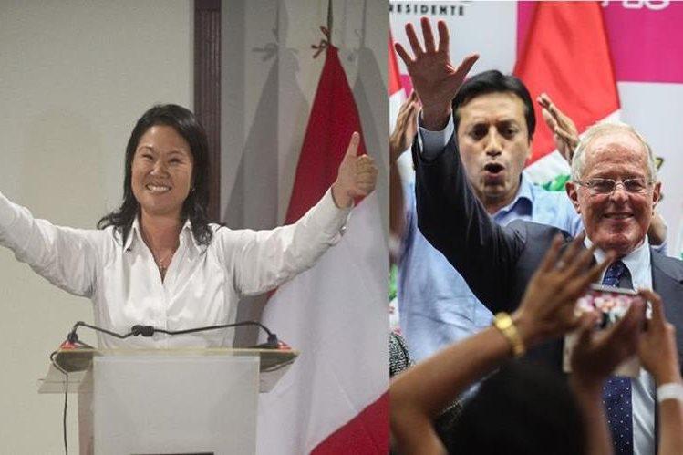 Keiko Fujimori y Alberto Fujimori, y el exministro Pedro Pablo Kuczynski irán a una segunda vuelta presidencial en junio. (Foto Prensa Libre: AP).