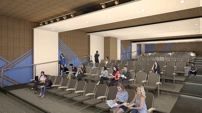 Render del auditorio que estará ubicado en el segundo nivel.