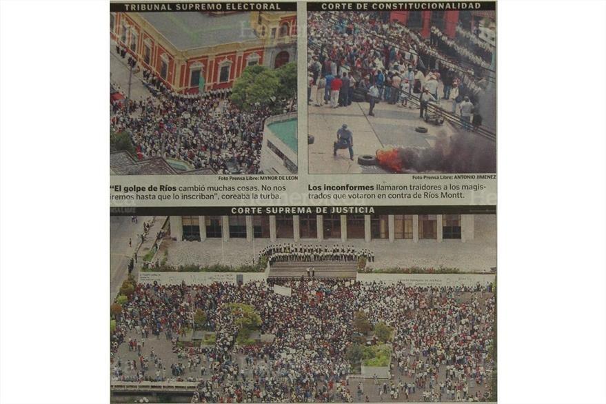 Unos tres mil eferregistas exigieron frente a la CSJ, CC y TSE la inscripción de Ríos Montt. (Foto:Hemeroteca PL)