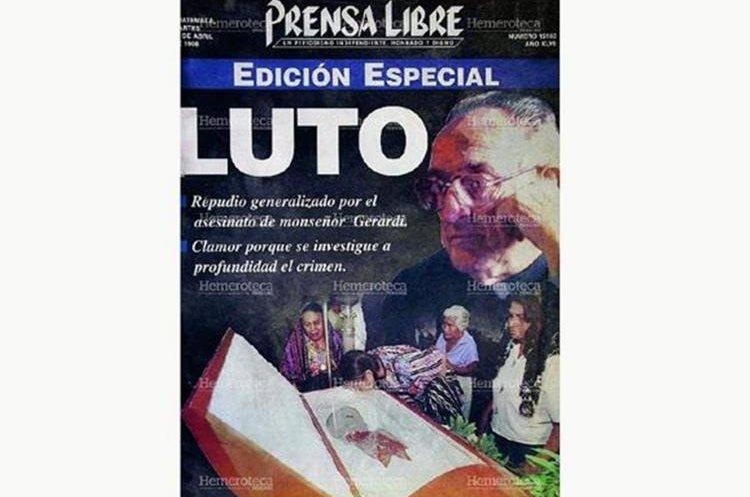 Portada de la edición especial de Prensa Libre del 28 de abril de 1998 por el asesinato de monseñor Gerardi.