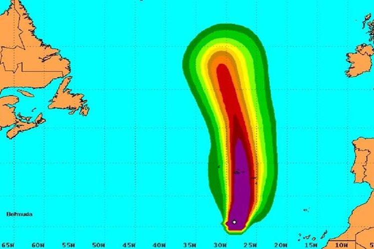 """Imagen de ubicación del huracán """"Alex""""."""