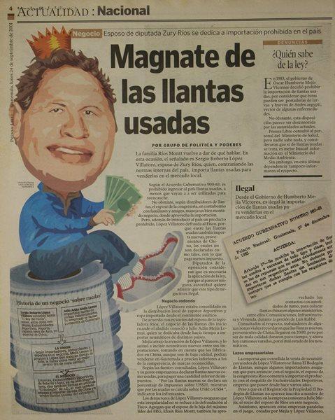 Una investigación de Prensa Libre, publicada en septiembre del 2001, reveló el negocio de llantas ilegal del Rey del Tenis. (Foto HemerotecaPL)