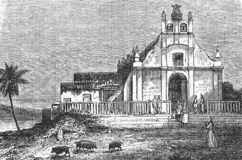 Dibujo de Flores, Petén, a mediados del siglo XIX. Autor: Arthur Morelet, publicado en el libro Viaje a América Central.