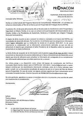Este oficio fue entregado por Acisclo Valladares, de Pronacom, a Thelma Aldana, fiscal general, antes de la reunión en Estados Unidos.