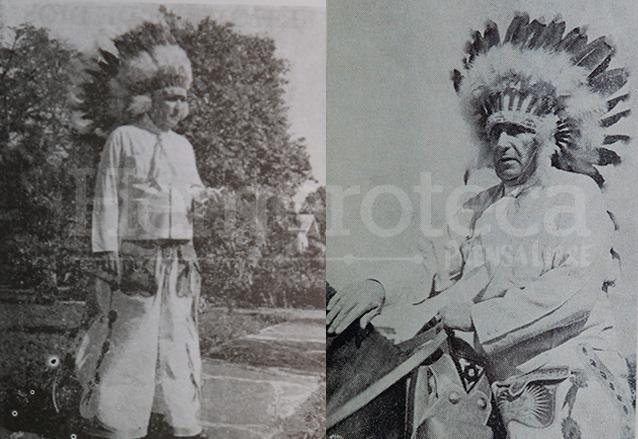 Una de las facetas desconcertantes de la personalidad de Ubico era su sentido del humor, en la foto poco conocida, aparece disfrazado de nativo norteamericano. (Foto: Hemeroteca PL)