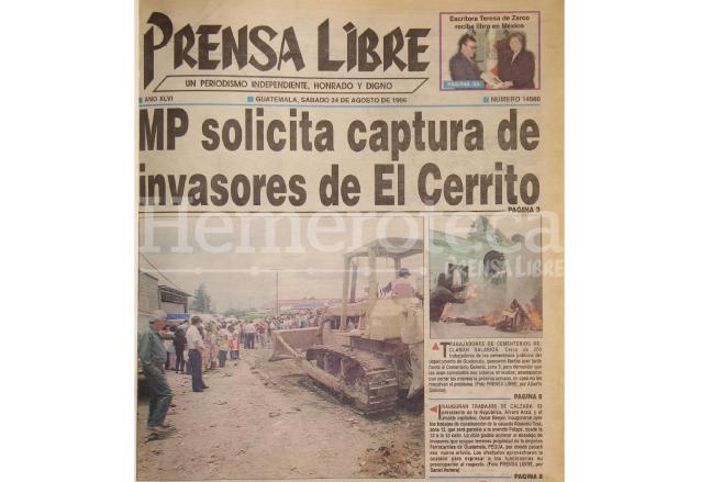 Portada de Prensa Libre del 24/08/1996. (Foto: Hemeroteca PL)