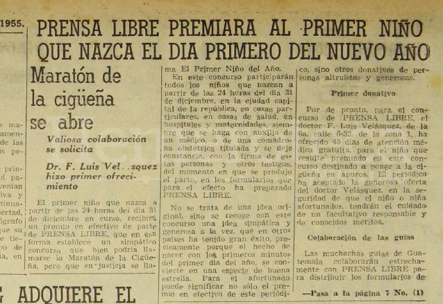 """Nota periodística del 16 de diciembre de 1955 anunciando la creación del Concurso """"Niño del Año"""" más conocido como """"Maratón de la Cigüeña"""". (Foto: Hemeroteca PL)"""