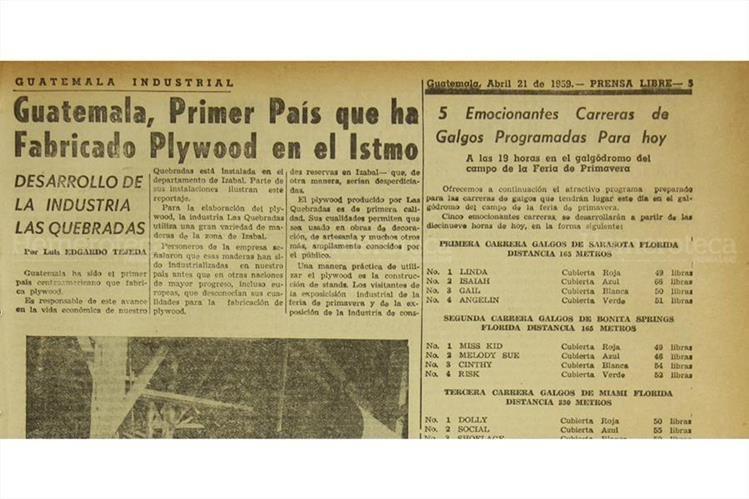 El 21/04/1959 Prensa Libre publicó sobre la producción de Plywood. ( Foto: Hemeroteca PL)