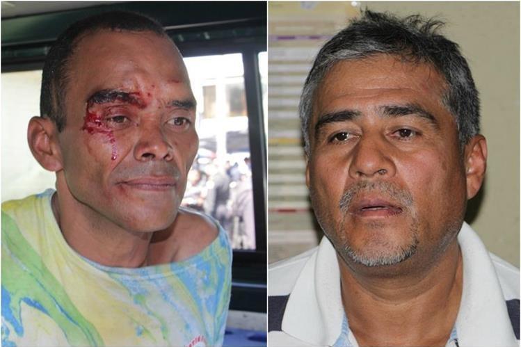 Mario Morán y Rolando López, remitidos al Juzgado por el robo de un vehículo en la zona 7. (Foto Prensa Libre: Cortesía PNC)