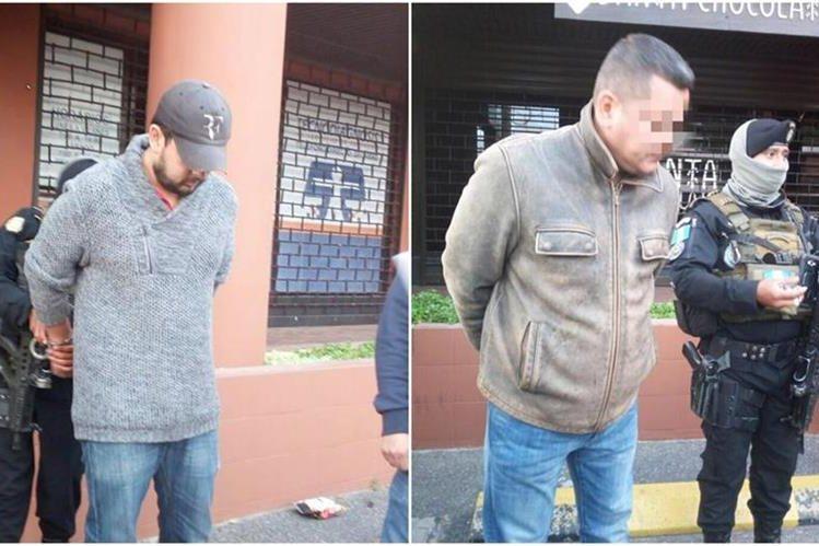 Dos hombres fueron capturados cuando portaban una fuerte cantidad de dinero en efectivo. (Foto Prensa Libre: PNC)