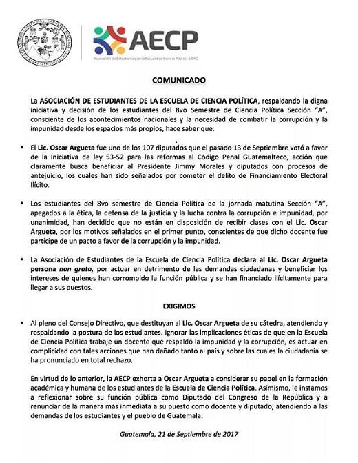 Asociación de Estudiantes de la Escuela de Ciencias Políticas declaró non grato al diputado de la UNE, Óscar Argueta. (Foto Prensa Libre: AECP)