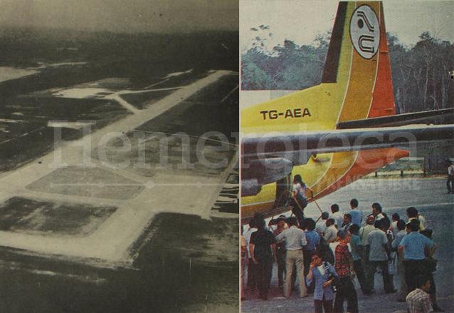 """A la izquierda, el aeropuerto de Santa Elena, Petén cuando fue inaugurado. A la derecha, la famosa """"Papaya Voladora"""" aeronave de Aviateca en Petén. Ambas fotos de 1981. (Foto: Hemeroteca PL)"""