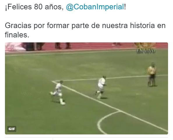 Este fue el tuit que se publicó por parte de Comunicaciones saludando a Cobán Imperial. (Foto Prensa Libre: Tomada de Tuitter)